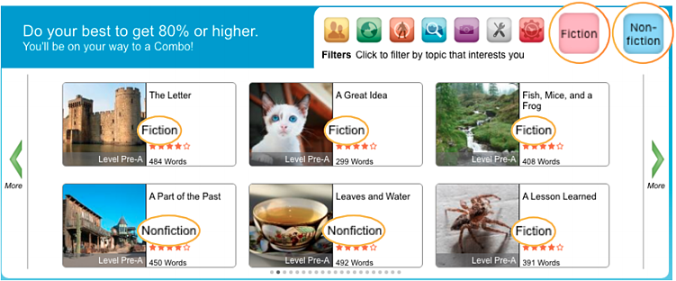 Fiction and nonfiction filters